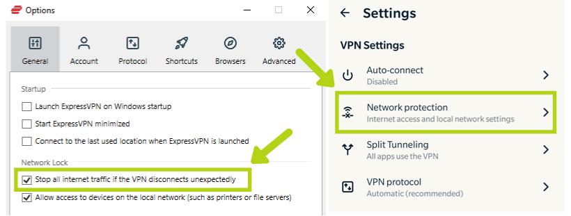 Screenshot of ExpressVPN's Network Lock feature
