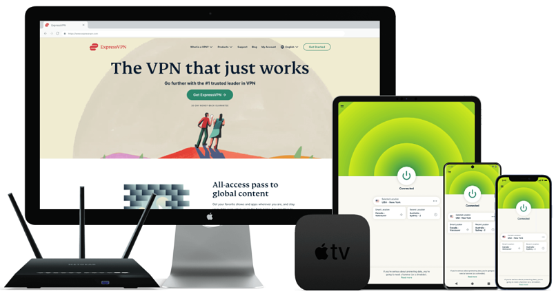Small assortment of technological devices compatible with ExpressVPN.